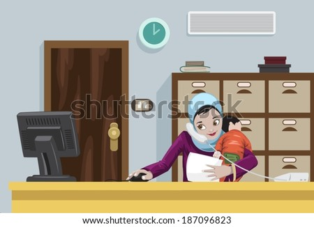 Arabian Working Woman With Her Child-vector - stock vector