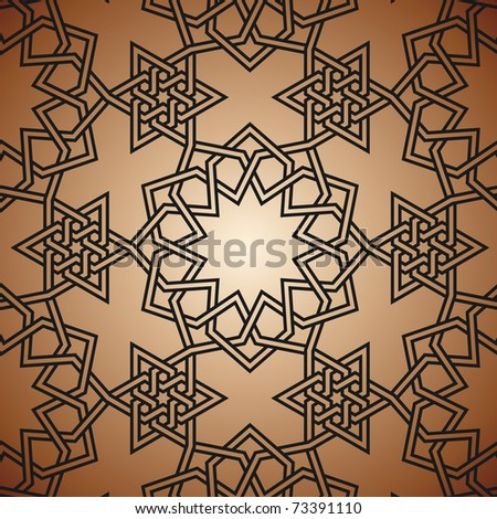 Arabic background with flowers and triamgles - stock vector