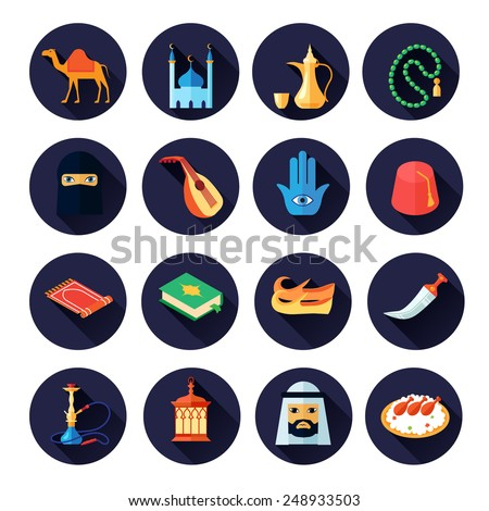 Arabic culture icon flat set with camel mosque coffee music symbols isolated vector illustration - stock vector