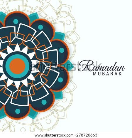 Arabic Islamic card  Eid Mubarak on floral decorated colorful background for muslim community festival Eid Mubarak. - stock vector