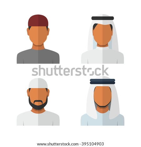 Arabic man set, vector avatars - stock vector