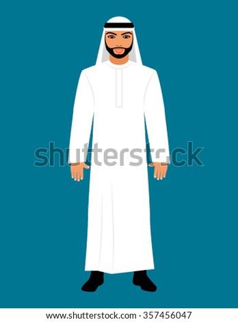 Arabic oriental Muslim men dressed in traditional clothing. Flat vector illustration - stock vector