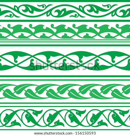 Arabic oriental ornament, seamless decorative strip, floral pattern motif, arabesque, border, arabic ornament. - stock vector
