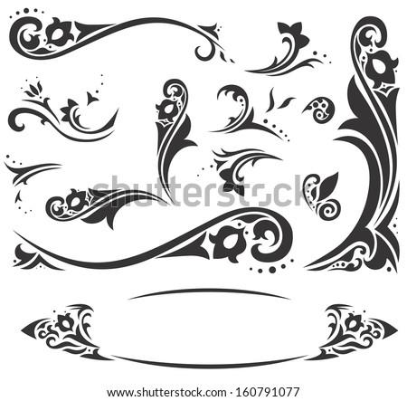 Arabic ornaments | Set of elegant Islamic vignettes and borders - stock vector