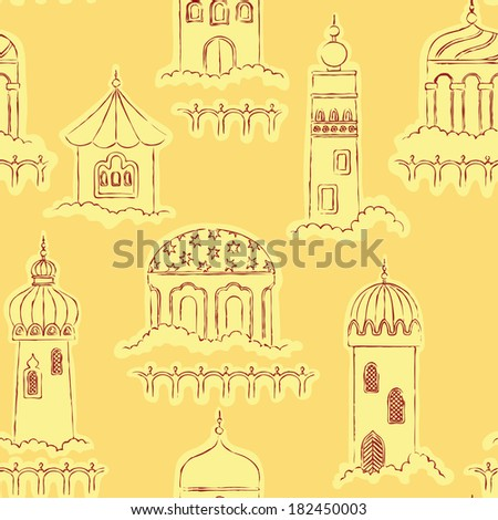 Arabic pattern with Silhouette of character Islam buildings - stock vector