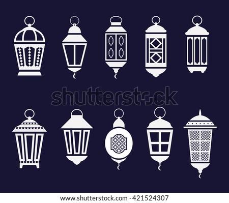 Arabic Ramadan lanterns set. vector icons - stock vector
