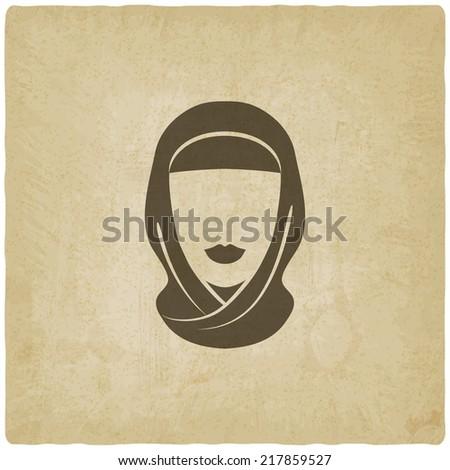Arabic woman avatar old background - vector illustration. eps 10 - stock vector