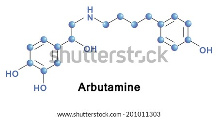 Arbutamine molecule, vector illustration. - stock vector