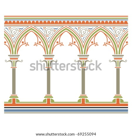 Arcade seamless, in medieval style - stock vector