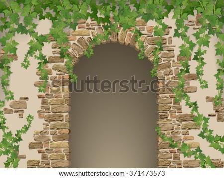 Arch of stones and hanging ivy. Entrance to the cave or cellar wreathed with  vines. (vector texture of stone contains elements auto-tracing) - stock vector