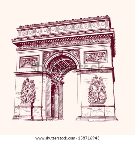 Arch of Triumph, Paris. hand drawn  vector illustration - stock vector