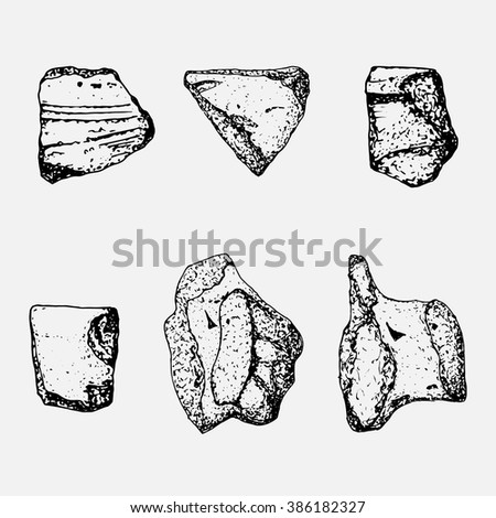 Archaeological sketch artifact pottery set - stock vector