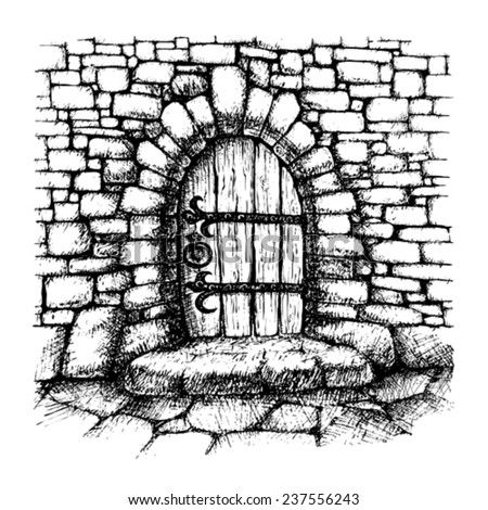 Arched  door in a stone wall , scatch - stock vector