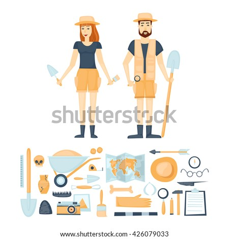 Archeology. Archaeologists man and woman, discovering a jug, treasure hunters ancient artifacts. Tools for excavations. Characters. Isolated on background. Flat style vector illustration. - stock vector