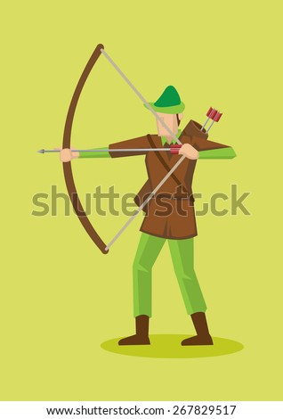 Archer in Robin Hood hat and costume using bow and arrow. Vector cartoon character illustration isolated on plain green background. - stock vector