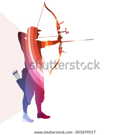 Archer training bow man silhouette illustration vector background colorful concept made of transparent curved shapes - stock vector