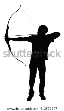 Archer vector silhouette symbol illustration isolated on white background. - stock vector