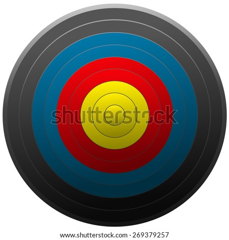 Archery Target Board, Vector Illustration isolated on White Background.  - stock vector