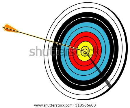 Archery target with arrow in center, Bulls-eye shot, isolated on white, vector illustration - stock vector