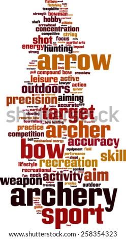 Archery word cloud concept. Vector illustration - stock vector