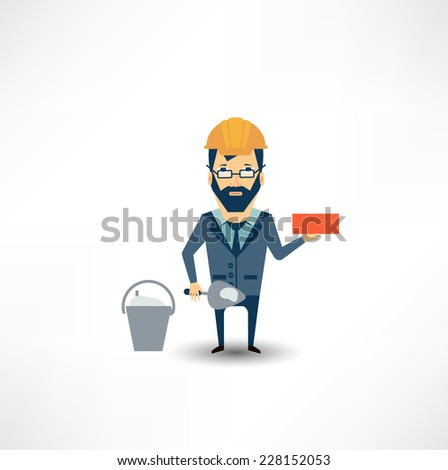architect building a house brick - stock vector