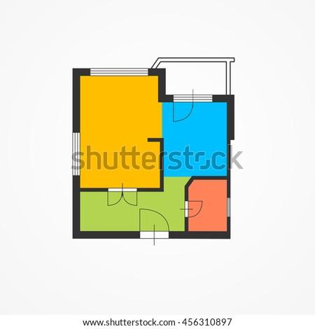 Architect Colorful Floor Plan. Modern Layout. Vector illustration - stock vector