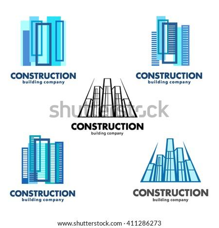Architect construction concept. Vector logos for construction and building companies - stock vector