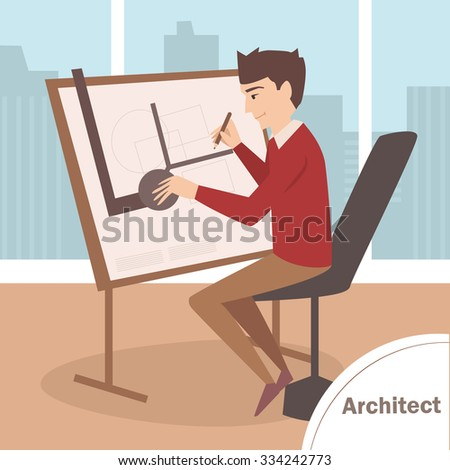 Architect draws. Office with panoramic windows. Vector isolated illustration. Cartoon character - stock vector