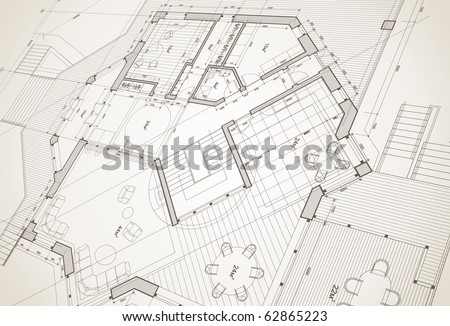 architect house plan: vector blueprint - stock vector