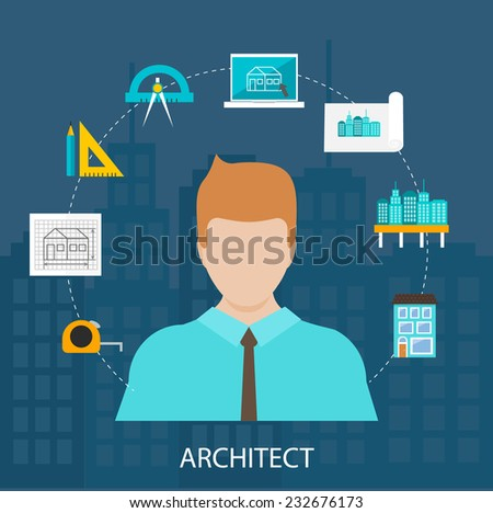 Architect profession icons set in flat design style isolated vector illustration   - stock vector