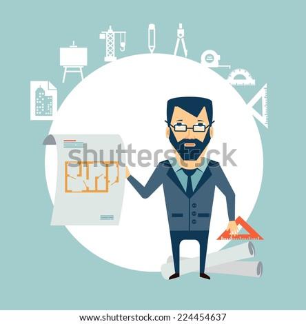 architect showing blueprints illustration - stock vector