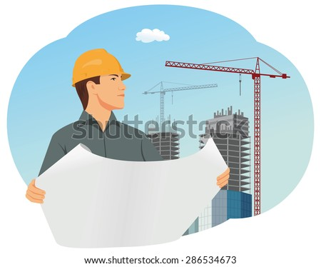 Architect with a hard hat is checking a structural drawing - stock vector