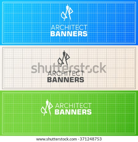Architect wood table project with professional equipment background concept. Vector illustration banners design  - stock vector