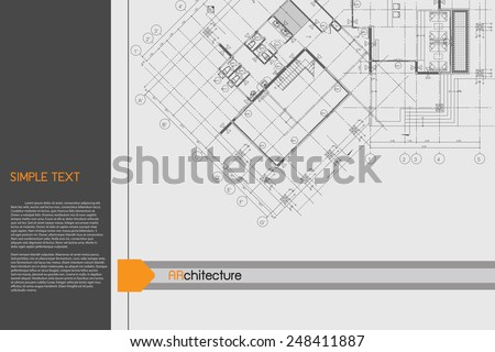 Architectural background on drawing table. Vector. - stock vector