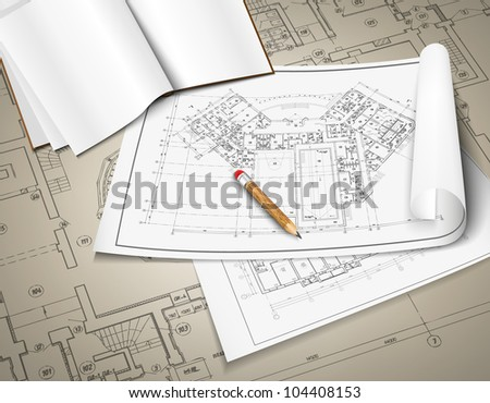Architectural background. Part of architectural project, architectural plan, technical project, drawing technical letters, architect at work, Architecture planning on paper, construction plan - stock vector