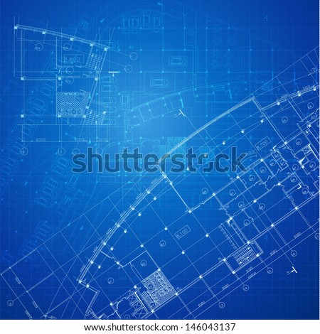 Architectural background. Part of architectural project, architectural plan, technical project, drawing technical letters, design on paper, construction plan - stock vector