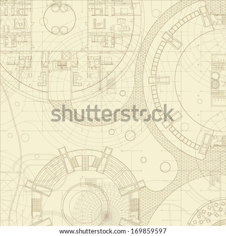 Architectural background. Vector blueprints. - stock vector