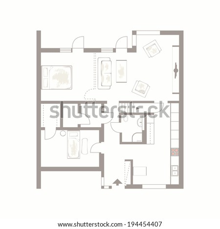 Architectural background. Vector drawing of building plan with furniture on white background  - stock vector