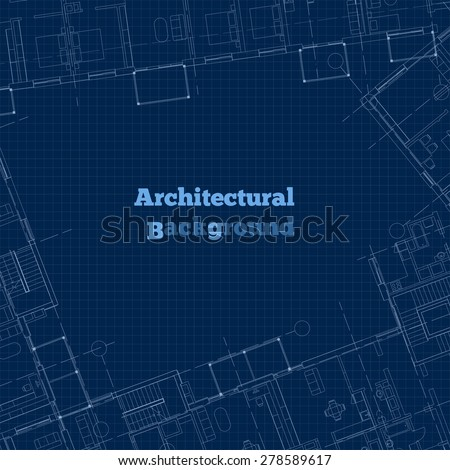Architectural background. White-blue building plan silhouette on dark blue background. Vector illustration. - stock vector