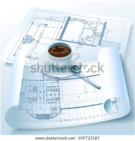 Architectural background with a cup of coffee and rolls of drawings. Vector clip-art - stock vector