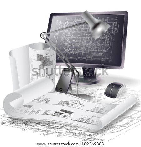 Architectural background with a monitor and rolls of drawings. Vector clip-art - stock vector