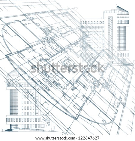 Architectural background with ecology elements - stock vector