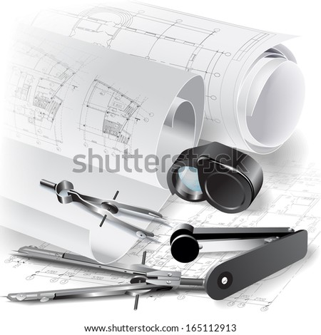 Architectural background with rolls of drawings and office tools. Vector clip-art - stock vector