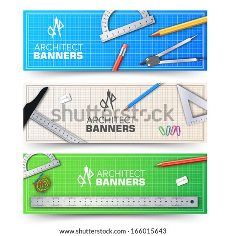Architectural banners. Vector Illustration, eps10, contains  - stock vector