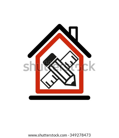 Architectural design conceptual symbol, simple house icon with edit pencil and measuring line. Design construction vector graphic element. - stock vector