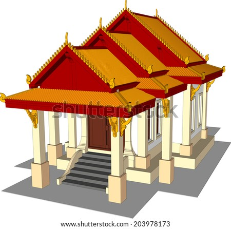 Architectural design, the small temple in Thailand. - stock vector