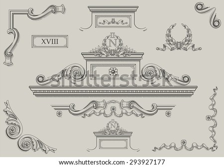 Architectural details. Vintage prints of architectural details. - stock vector