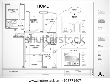 architectural drawing house plan - stock vector