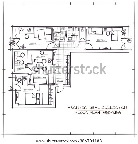 Architectural Hand Drawn Floor Plan.Three Bedrooms Apartment - stock vector
