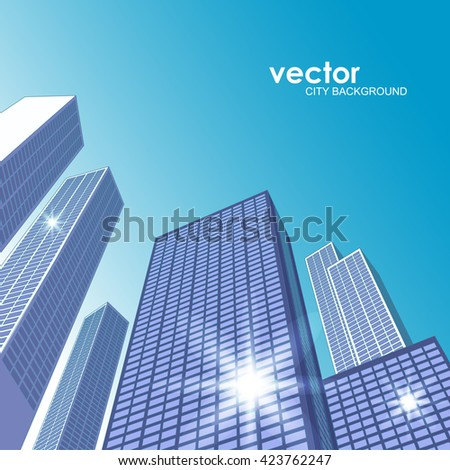 Architectural landscape with city buildings - stock vector